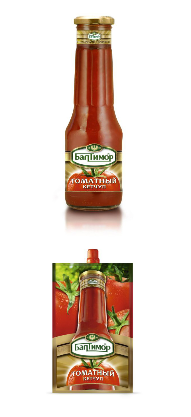 Bottle and sachet Ketchup packaging design