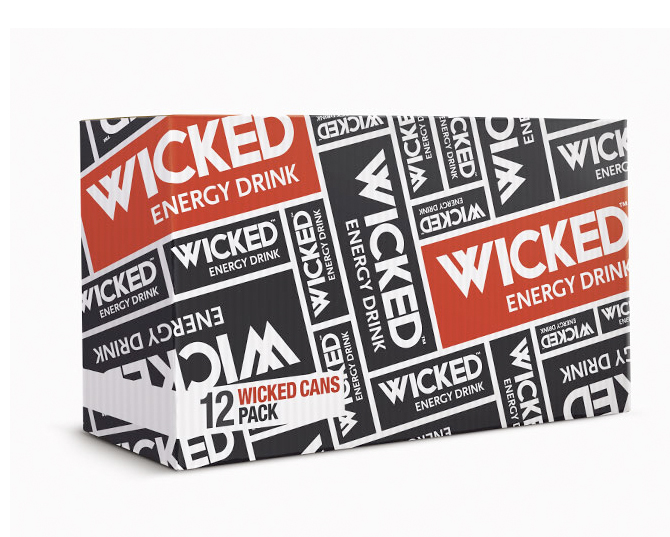 Wicked energy drink packaging design