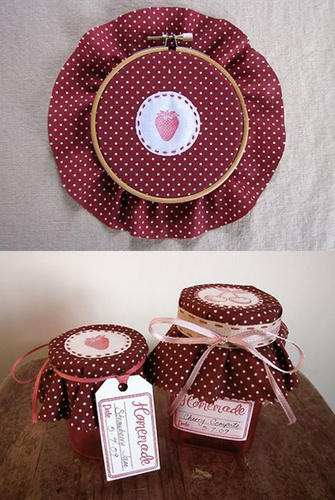 embroided jam jar covers