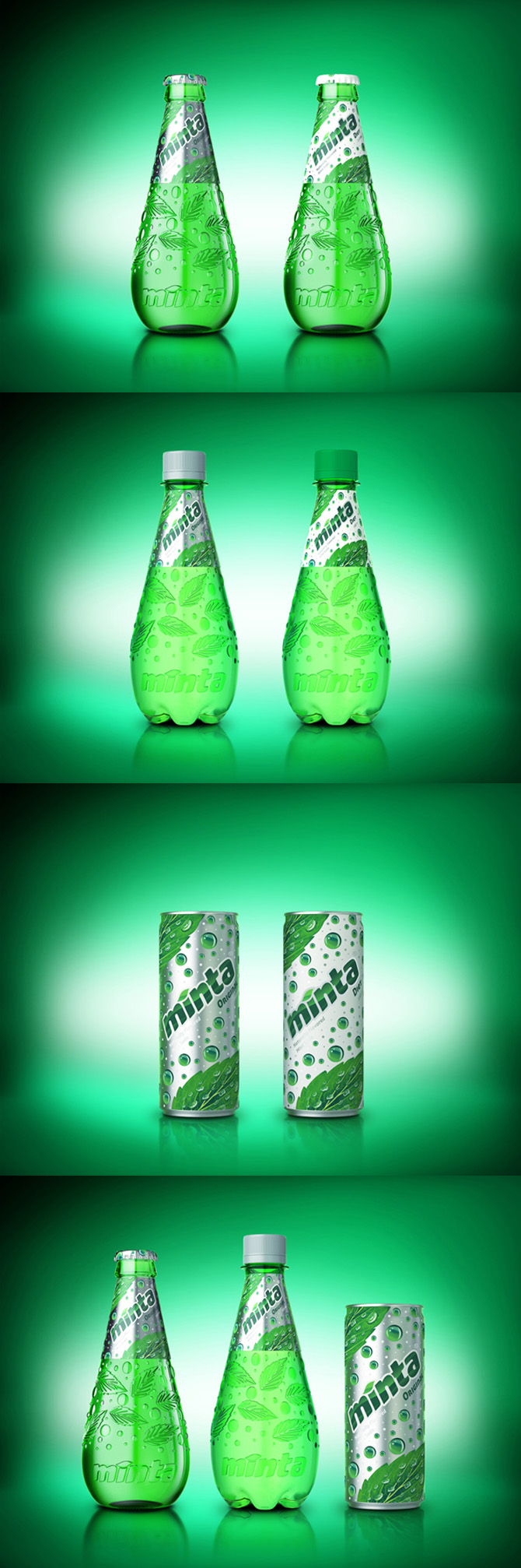 minta soft drink packaging design