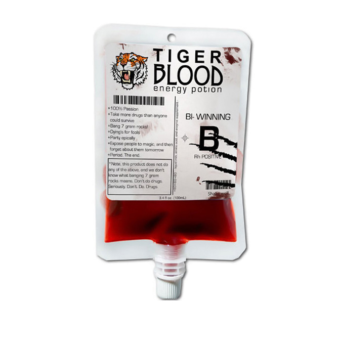 tiger blood energy drink packaging