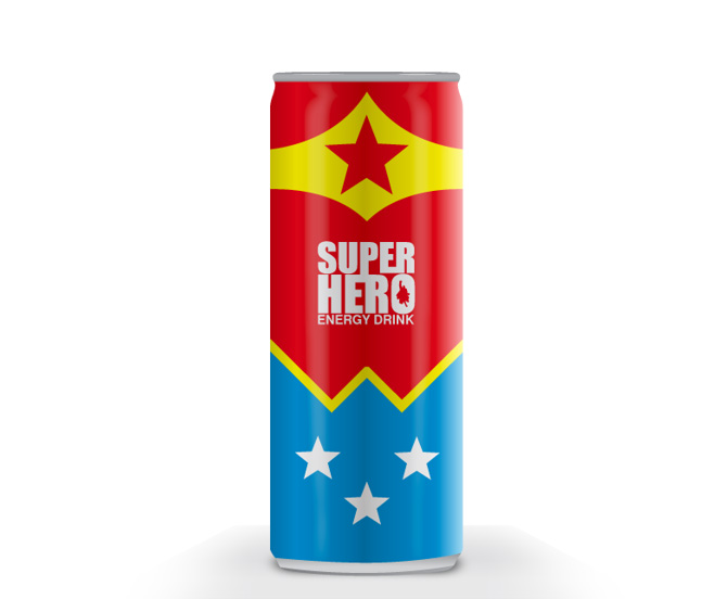 wonderwomen energy drink packaging